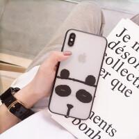 可爱卡通透明苹果x手机壳熊猫图案iPhone6s/8/7plus可爱女款超薄6splus创意网红 苹果X 熊猫