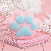 伊丝洁 【生日礼物】创意可爱猫爪抱枕被子两用办公室午睡毯子空调被子靠垫腰靠 抱枕38X32cm毯子1米*1米7