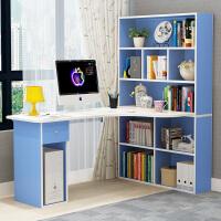 家用电脑台式桌转角电脑桌简约书柜书桌一体书架组合卧室写字桌子