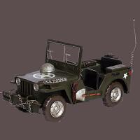 复古军车模型美军威力斯JEEP 做战车模型橱窗陈列道具家居书房玄关样板间儿童房摆设 怀旧军车38*17*19cm