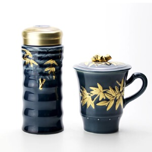 乾唐轩活瓷杯套装大竹节鎏金礼盒随身杯高杯创意商务礼品推荐