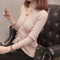 2018秋装新款韩版V领抽绳性感上衣毛衣修身长袖套头针织衫女薄款