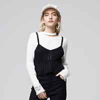 【1件2折到手价:47.8】美特斯邦威针织衫女新款时尚荷叶边镂空设计吊带衫