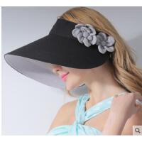大帽檐气质花朵空顶遮阳帽无顶帽韩版潮户外遮脸网球电动车防晒帽子