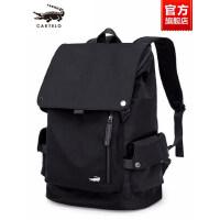 鳄鱼男士双肩包商务休闲电脑帆布简约时尚背包旅游旅行包潮流书包