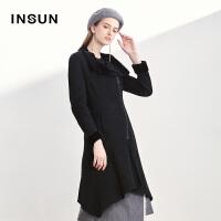 INSUN/恩裳摩登气质羊皮毛一体黑色不规则皮草外套女2017冬季新款