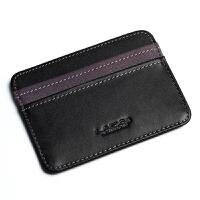 男士薄卡包驾驶证卡套小钱包女式信用男士银行卡夹韩国 丹紫搭黑横款