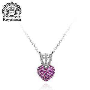 皇家莎莎S925银项链爱心皇冠女锁骨链简约银饰吊坠饰品生日礼物