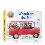 英文原版 Wheels on the Bus 公车上的轮子 纸板书 幼儿启蒙趣味图画书 3-6岁儿歌童谣韵文