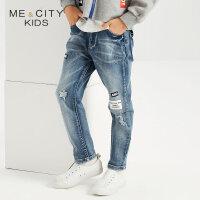 【1件2折到手价:53.8】米喜迪mecity童装春新款男童字母印花重洗水牛仔长裤