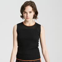 【2件1.5折价:52.4,可叠券】MECITY女装夏新品摩登撞色毛织背心