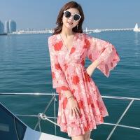 2018海滩沙滩裙波西米亚短裙海边度假显瘦泰国短款连衣裙女 图片色