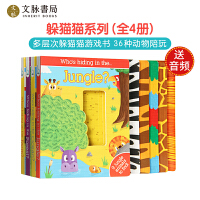 who's hiding儿童宝宝启蒙英文原版绘本躲猫猫游戏抽拉机关纸板书