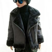 儿童皮毛一体中大童秋冬季机车鹿皮绒羊羔绒毛外套男女童加绒韩版