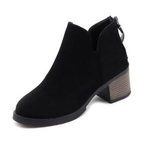 WARORWAR 2019新品YM45-H9111冬季韩版磨砂反绒粗跟鞋中跟女鞋潮流时尚潮鞋百搭潮牌靴子切尔西靴短靴