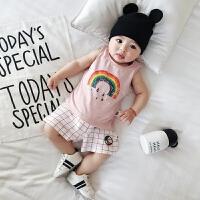 婴儿衣服新生儿外出纯棉吊带彩虹雨滴印花0-2岁宝宝背心夏装