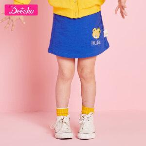 【109/3件】笛莎女童宝宝半身裙2019春装新款舒适针织小毛圈小熊印花半身裙