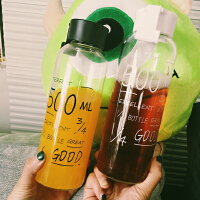 韩国玻璃杯子透明学生水瓶创意便携带盖太空柠檬随行杯字母杯
