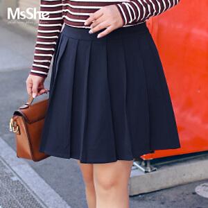 MsShe加大码女装2017新款胖mm冬装甜美学院风百褶裙短裙M1740604