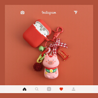 猪年招财小猪苹果airpods2保护套可爱 iphone无线蓝牙耳机盒子壳