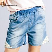 【3件3折:110.7元】暇步士童装夏季新款女童短裤时尚轻薄舒适甜美蕾丝牛仔短裤儿童短裤
