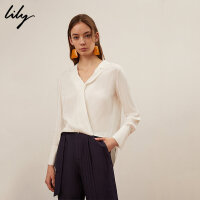 【不打烊价:204元】 Lily春新款女装气质薄舒适白色长袖宽松套头衬衫119140C4213