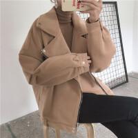 西装领开衫毛呢外套女冬装新款韩版纯色百搭宽松显瘦长袖呢子大衣