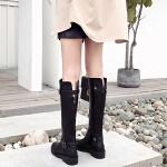 帅气机车靴女2018秋冬新款欧美高筒长靴平底暗黑风骑士靴马靴SN1183 黑色