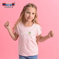 【2折价:23.8】铅笔俱乐部童装2019夏装新款女童短袖T恤中大童圆领上衣儿童半袖