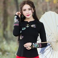 2018新款春装新款民族风女装复古刺绣改良旗袍上衣长袖T恤打底衫 黑色