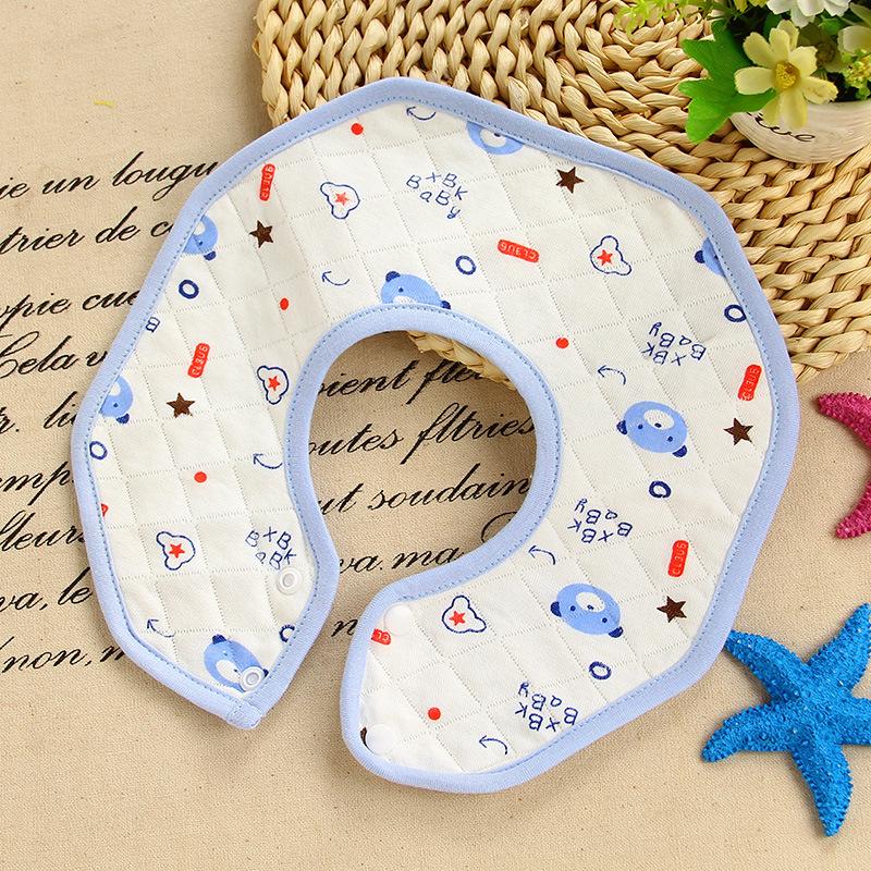 4条装婴儿围嘴360度旋转宝宝纯棉防水八角新生儿口水巾饭兜吐围兜