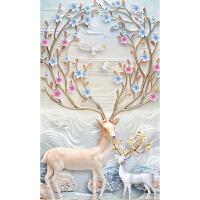 印花十字绣2018新款客厅玄关竖版发财鹿简约现代简单线绣
