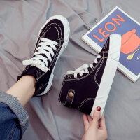 棉鞋女加绒帆布鞋秋冬学生冬鞋韩版百搭冬季运动高帮女鞋