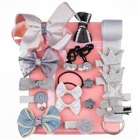 儿童发饰套装公主宝宝发夹头花饰品女童发卡头绳女孩头饰发绳 灰色精美礼盒18件套