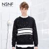 NSNF写意墨点黑色竹节棉圆领套头卫衣  2017秋冬新款