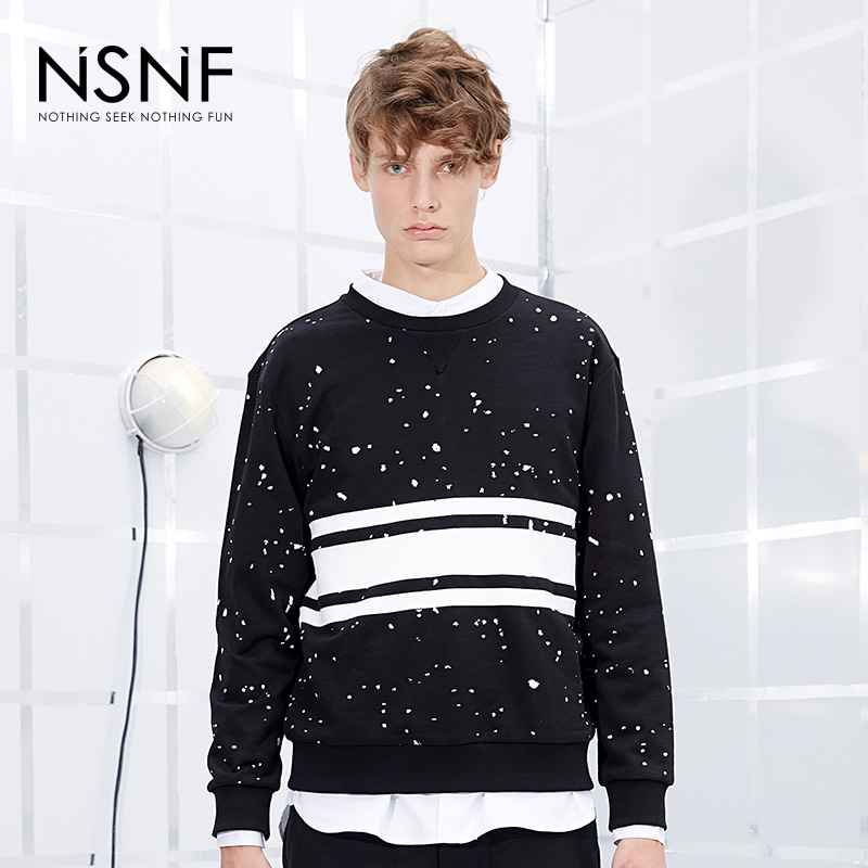 NSNF写意墨点黑色竹节棉圆领套头卫衣  2017秋冬新款 当当自营 高品质设计师潮牌
