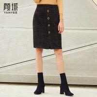 颜域品牌女装秋冬新款格子半身裙包臀裙毛呢短裙A字裙冬裙伞裙女