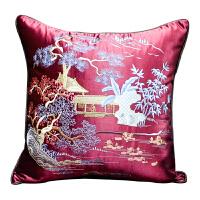 中式刺绣抱枕套中风沙发靠垫汽车腰枕欧式床头靠枕靠背含芯 枣红 (秀水明山)
