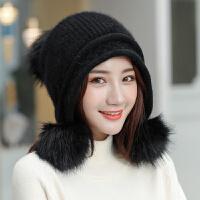 帽子女冬天时尚针织毛线帽潮冬季保暖英伦贝雷帽兔毛冬帽