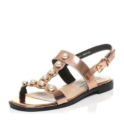 Tata/他她夏专柜同款漆牛皮珍珠一字带方跟女凉鞋FCR04BL7