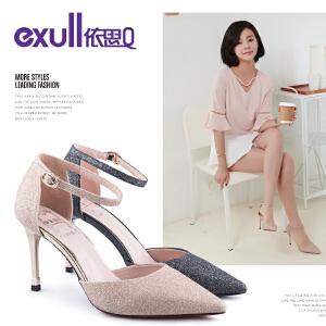 依思q秋季新款时尚优雅尖头女鞋细跟超高跟单鞋