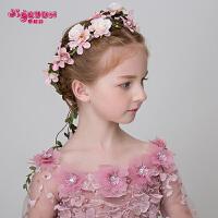 女童发饰头饰手工发箍唯美花环粉色女孩六一演出饰品儿童花环头花