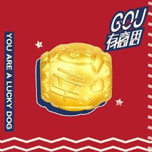 周大福 十二生肖狗拉布拉多犬转运珠黄金吊坠R20112>>定价
