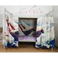 大学生宿舍动漫下铺床帘上铺遮光布男女生帘子防尘寝室床幔围 +顶 1.0m(3.3英尺)床
