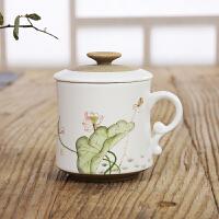 萌味 陶瓷杯 手绘陶瓷茶杯个人杯带盖过滤耐高温水杯办公马克杯子