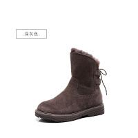 雪地靴女2018秋冬新款加绒加厚短靴棉鞋中筒雪地真皮英伦风马丁靴SN1283