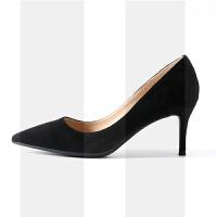 绒面高跟鞋女细跟尖头单鞋2018新款网红性感正装工作鞋黑色职业秋SN6061 40 脚长约250