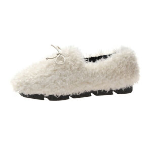 WARORWAR新品YM167-2088冬季韩版平底舒适女士乐福鞋毛毛鞋