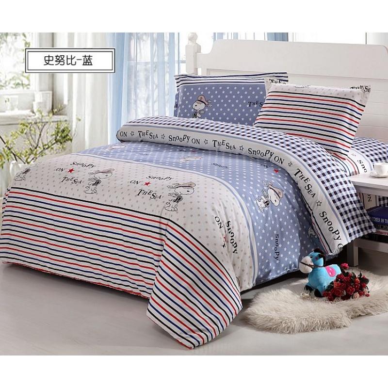 于婆婆 床上用品儿童四件套 纯棉床单全棉卡通被单含被单 纯棉 活性  细腻柔软