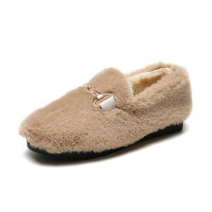 WARORWAR 2019新品YM151-R811-1冬季韩版平底鞋舒适女鞋潮流时尚潮鞋百搭潮牌乐福鞋毛毛鞋
